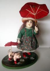 Little Girl with Pig - OOAK art doll figurative sculpture